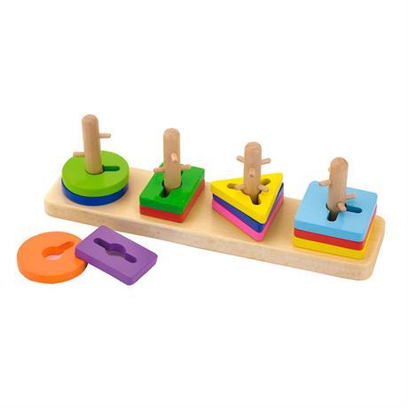 Деревянная логическая пирамидка-ключ Viga Toys Цветные фигуры (50968)